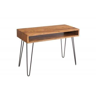 Újrahasznosított tömörfa íróasztal, polccal, 110x50 cm - COMPASS